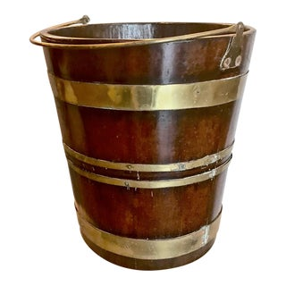 19th C. English Mahogany Brass-Bound Peat Bucket For Sale