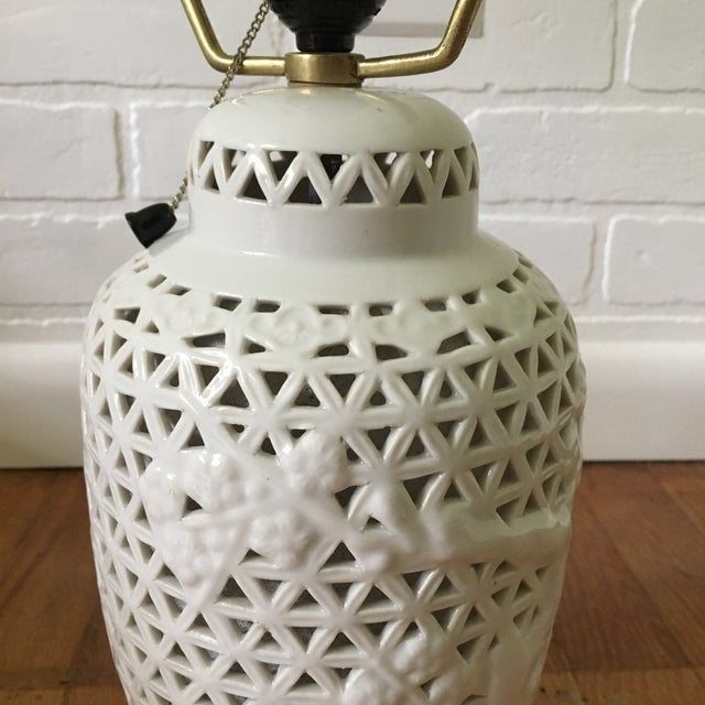 Pierced Blanc De Chine Accent Lamp For Sale - Image 4 of 7