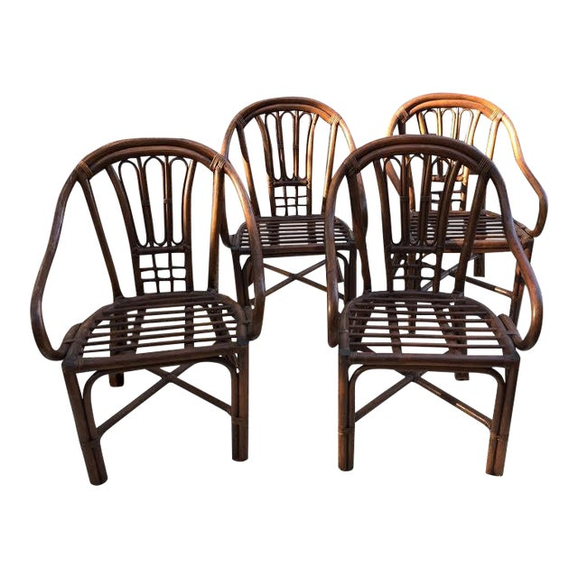 Vintage Rattan Chairs - Set of 4 - Image 1 of 8