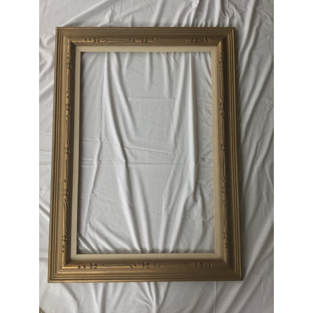 Large Mid-Century Gold Carved Gold Wood Frame - Image 2 of 11