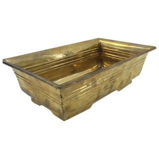 Vintage Rectangular Brass Ming-Style Planter