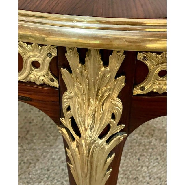 Louis XV Style French Dining Table, Bronze Mounted Starburst Top, Refinished For Sale - Image 10 of 12
