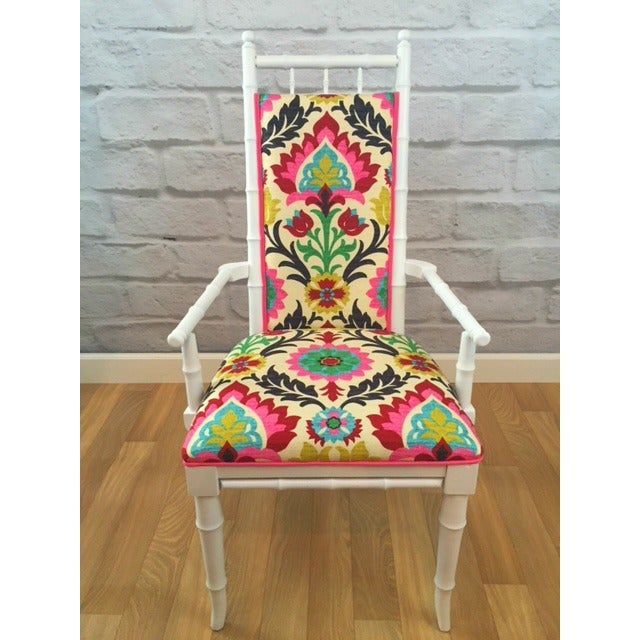 White Bamboo Suzani Accent Chair - Image 2 of 5