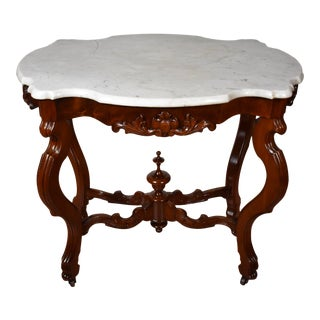 19th C. Antique Victorian Eastlake Walnut White Marble Top Center Side Table For Sale
