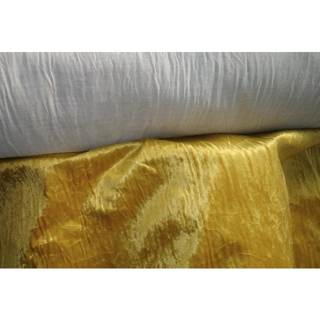 Vintage Crushed Gold Velvet Upholstery Fabric - 1 Yard For Sale - Image 6 of 12