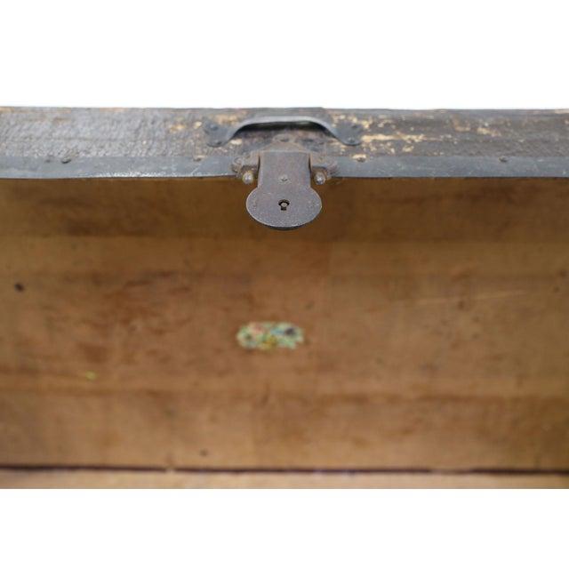 Large Antique Hardwood Steamer Trunk For Sale - Image 10 of 11
