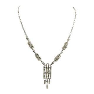 Art Deco Era Marcasite Necklace For Sale