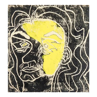 Abstract Portrait Block Print For Sale