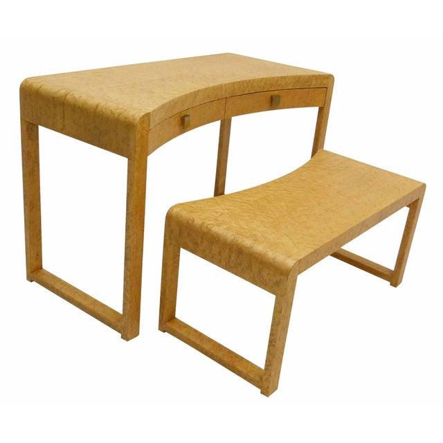 Birds Eye Maple Burl Wood Desk & Bench - Image 2 of 11