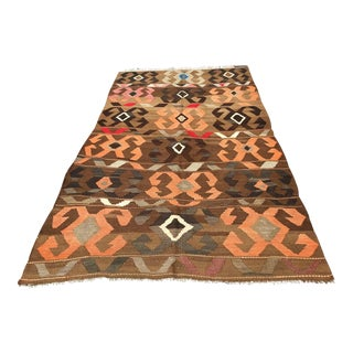 Vintage Brown Turkish Kilim Rug