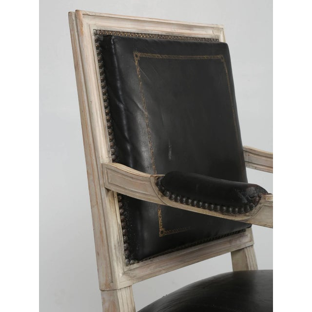 Black Louis XVI Style Armchairs in Original Paint and Black Leather - Set of 4 For Sale - Image 8 of 13