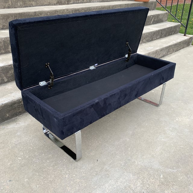 1980s Mid Century Chrome Bench With Storage For Sale - Image 4 of 10