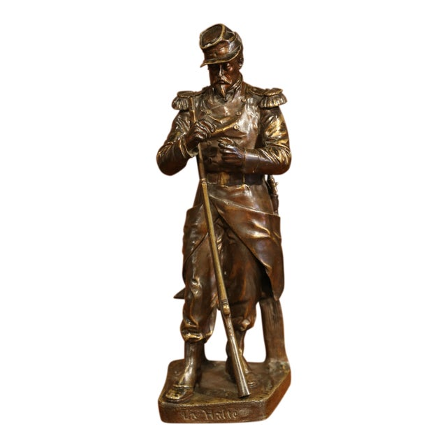 "19th Century French Patinated Bronze Sculpture ""La Halte"" Signed L. Mennessier For Sale"