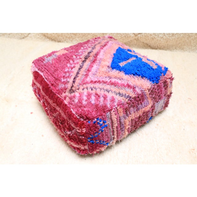 Moroccan Vintage Moroccan Wool Pouf Cover For Sale - Image 3 of 13