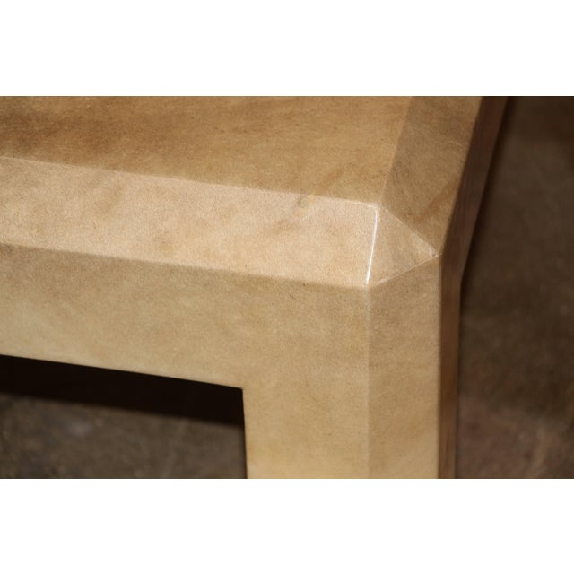 Modern Karl Springer Tri Color Black Ivory and Tan Goatskin Parchment Coffee Table For Sale - Image 3 of 10