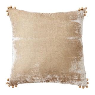 Omni Taupe Silk Velvet Pillow For Sale