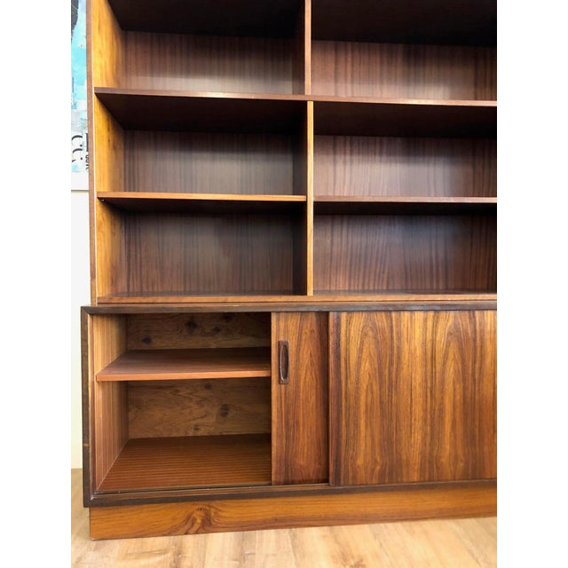 Mid-Century Modern Danish MCM Rosewood 2 Piece Display/Credenza With Drop Leaf Bar For Sale - Image 3 of 13