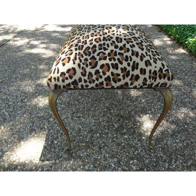 Shabby Chic 1960s Vintage Italian Gio Ponti Inspired Upholstered Leopard Print Hair Hide Bench For Sale - Image 3 of 8