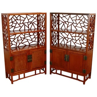 Pair of Chinese Carved Rosewood Display Cabinets or Bookcases For Sale