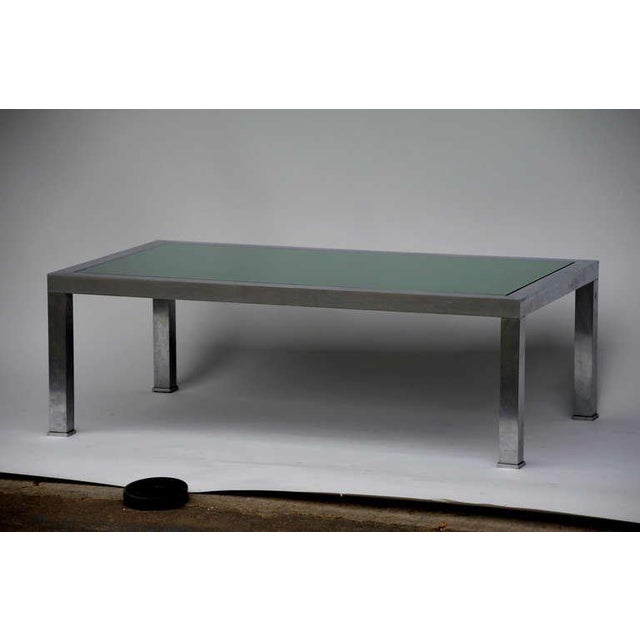 Mid-Century Modern 1970s Guy Lefevre Brushed Steel and Emerald Mirror Cocktail Table For Sale - Image 3 of 9