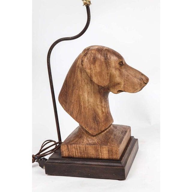 2020s JW Custom Line Carved Dog Lamp For Sale - Image 5 of 7