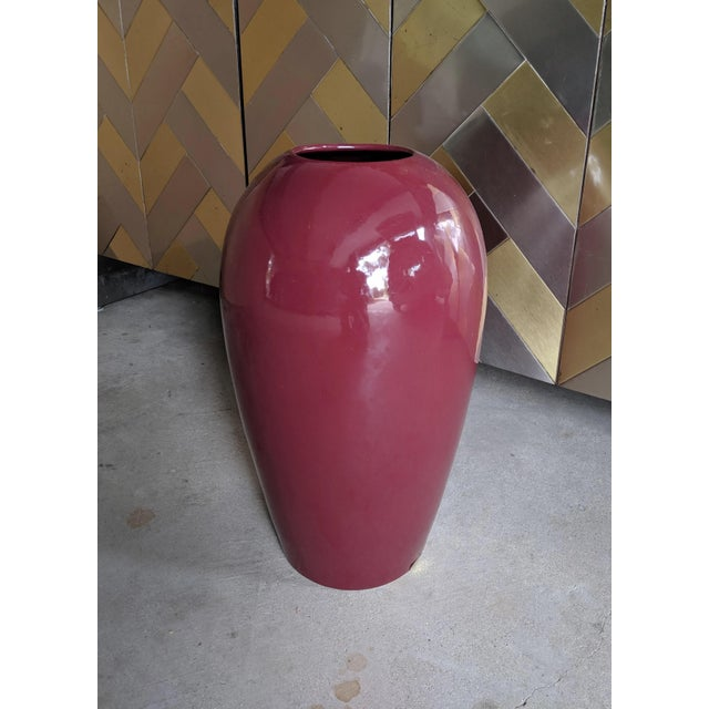 Extra Large 1980s burgundy Haeger floor vase. Fantastic original foil label remains. This is an incredible statement piece...