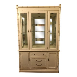1960s Vintage Thomasville Faux Bamboo China Cabinet