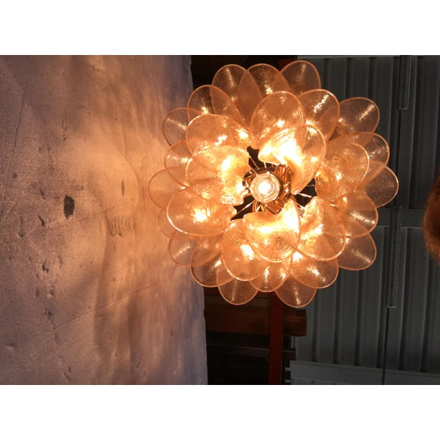 Metal Venini Style Murano Glass Chandelier For Sale - Image 7 of 12