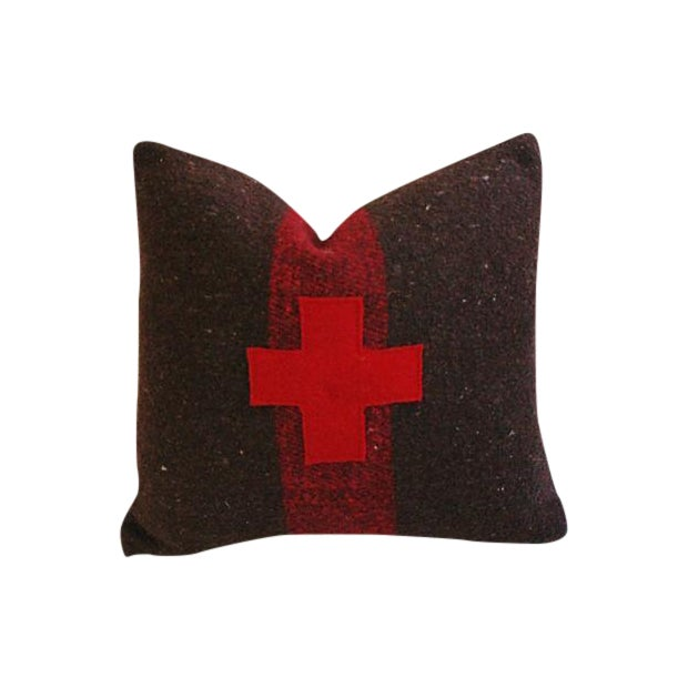 Swiss Appliqué Red Cross Wool Pillow - Image 1 of 7