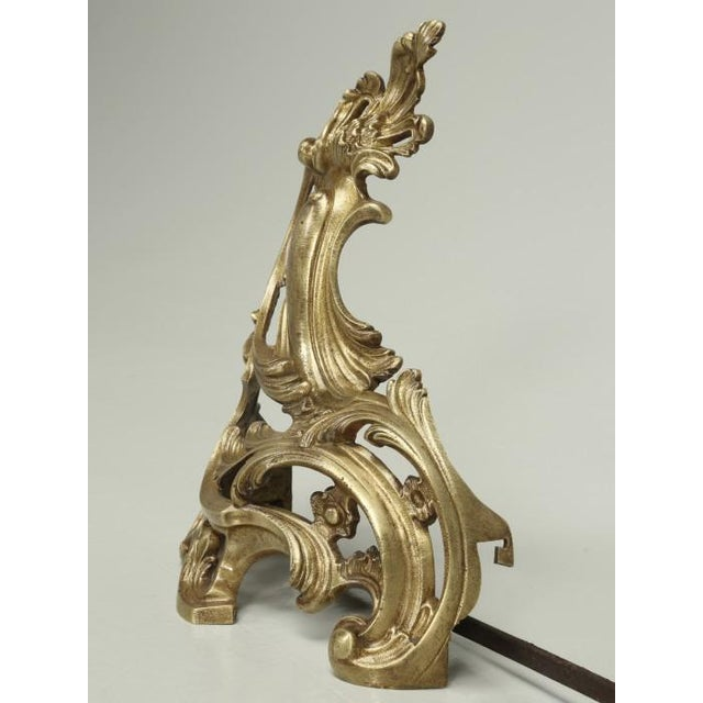 Antique French Solid Bronze Andirons or Chenets - a Pair For Sale In Chicago - Image 6 of 9