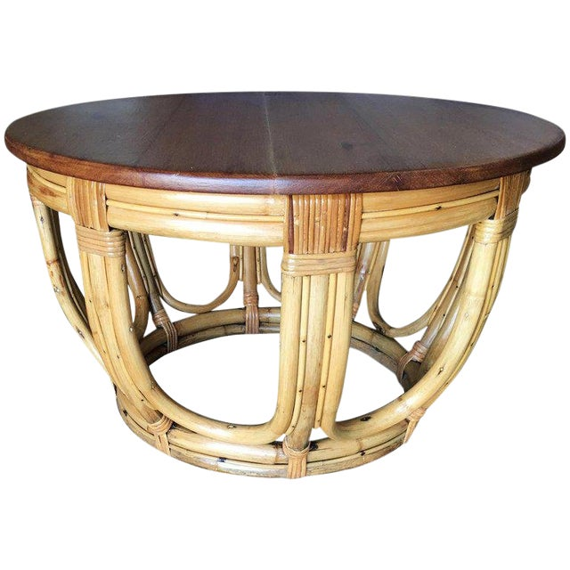 Restored Round Rust Rattan Coffee Table With Mahogany Top and Fancy Wrappings For Sale