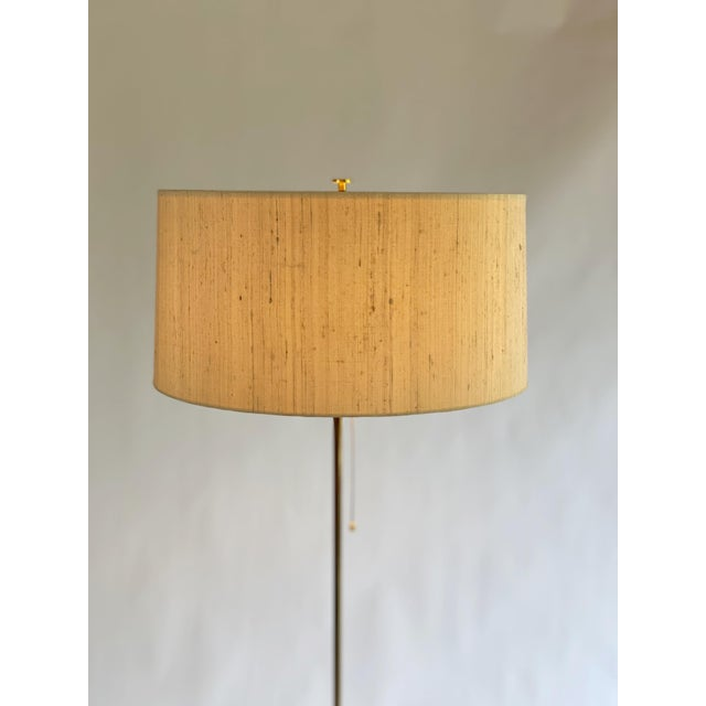 Bergboms Model G-025 Brass Floor Lamp With Silk Shade For Sale In Los Angeles - Image 6 of 12