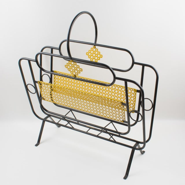 Mathieu Matégot Mathieu Mategot Style Metal Magazine Holder Rack For Sale - Image 4 of 13
