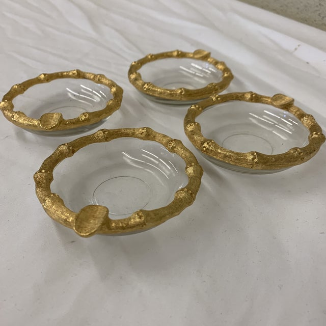 Hollywood Regency Hollywood Regency Gold Faux Bamboo Ashtrays For Sale - Image 3 of 7