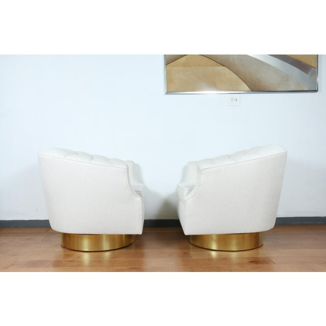 Milo Baughman Attributed Pair of Swivel Chairs For Sale - Image 9 of 13