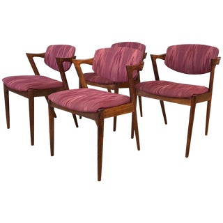 Four Kai Kristiansen Rosewood Dining Chairs for Schou Andersen For Sale