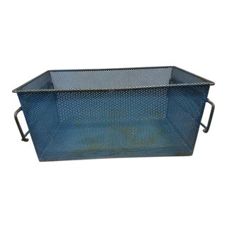 1960s French Industrial Blue Metal Basket For Sale