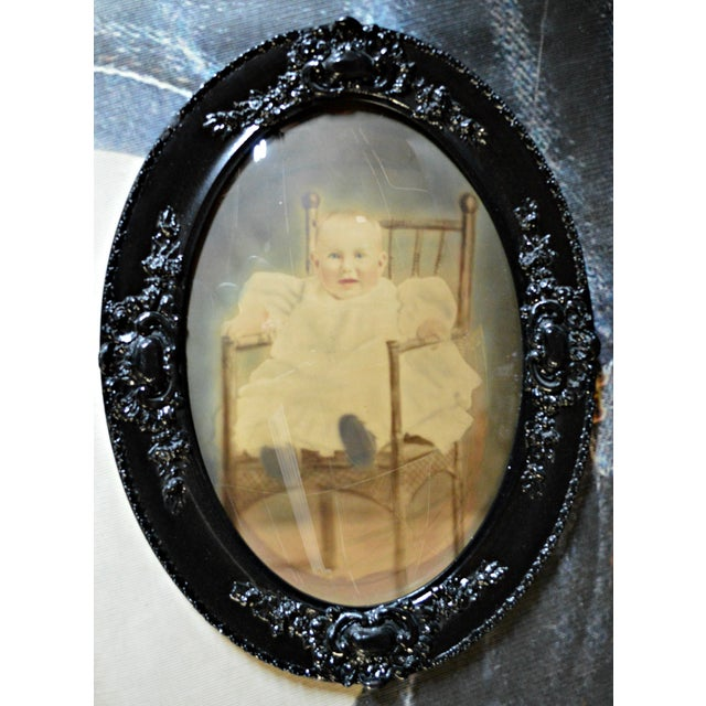 Traditional Antique Framed Baby Photograph Under Convex Glass For Sale - Image 3 of 5