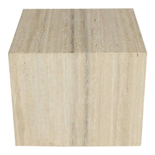 Travertine Cube on Wheels Coffee Side Table Pedestal For Sale