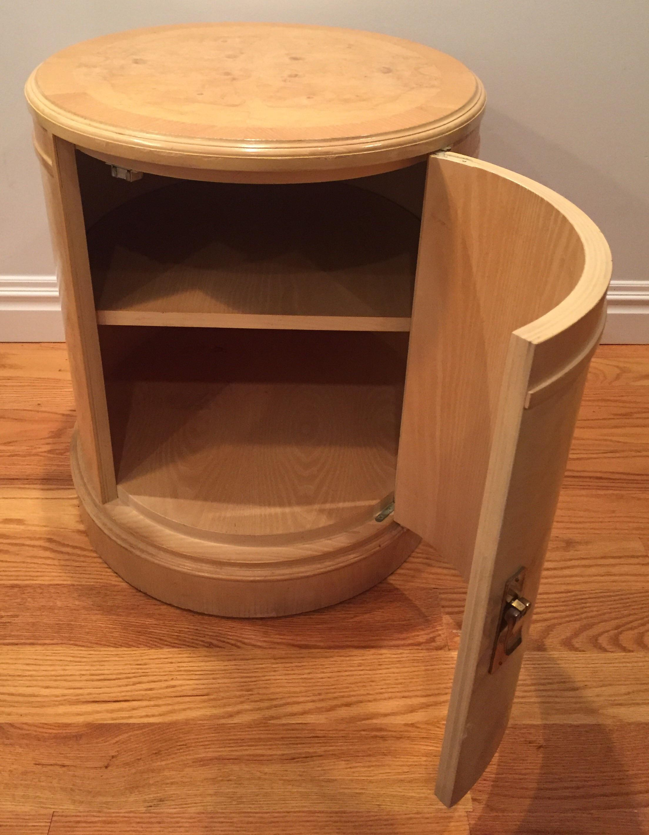 Vintage Henredon Style Burl Wood Drum Table   Image 3 Of 9