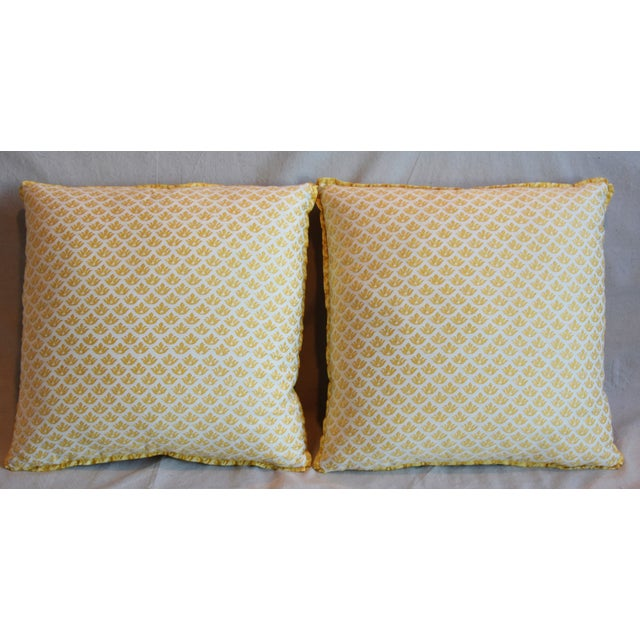 """Pair of custom-tailored reversible pillows in unused Italian Mariano Fortuny cotton fabric called """"Canestrelli"""" depicting..."""