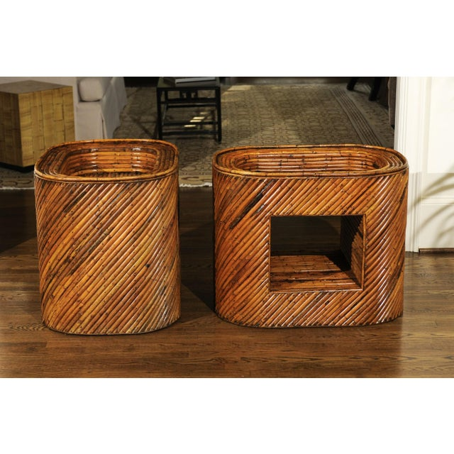 Exceptional Restored Pair of Bamboo Display End Tables, circa 1975 For Sale - Image 12 of 13