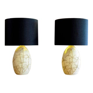 Bamboo Design Ceramic Lamps - A Pair For Sale