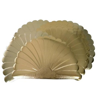 Vintage Jby Gold Vinyl Scalloped Shell Placemats - Set of 8