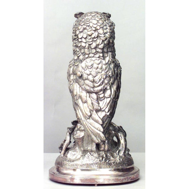 Oak English Victorian Silver-Plated Owl Design Clock and Pair of Candelabra For Sale - Image 7 of 10