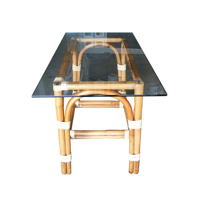 """Mid-Century Modern Restored """"Swoop Arch"""" Rattan Side Table With Glass Top For Sale - Image 3 of 6"""