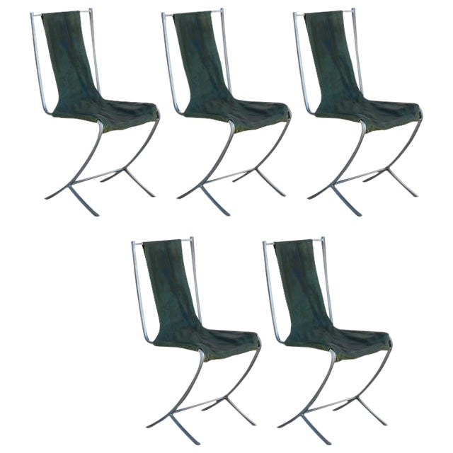 Rare Set of Five Stainless Steel Chairs by Maison Jansen For Sale