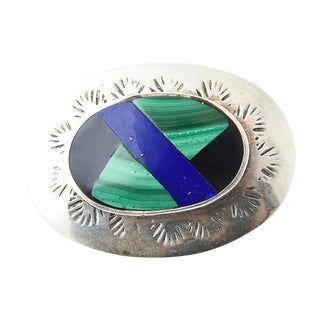 Mexican Lapis, Malachite, Onyx & Sterling Brooch For Sale