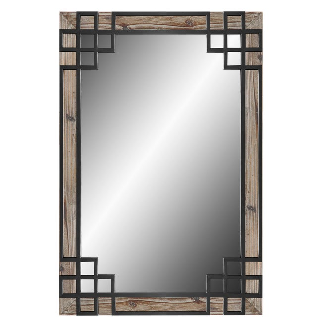 Wood Frame, Black Iron Overlay Wall Mirror For Sale