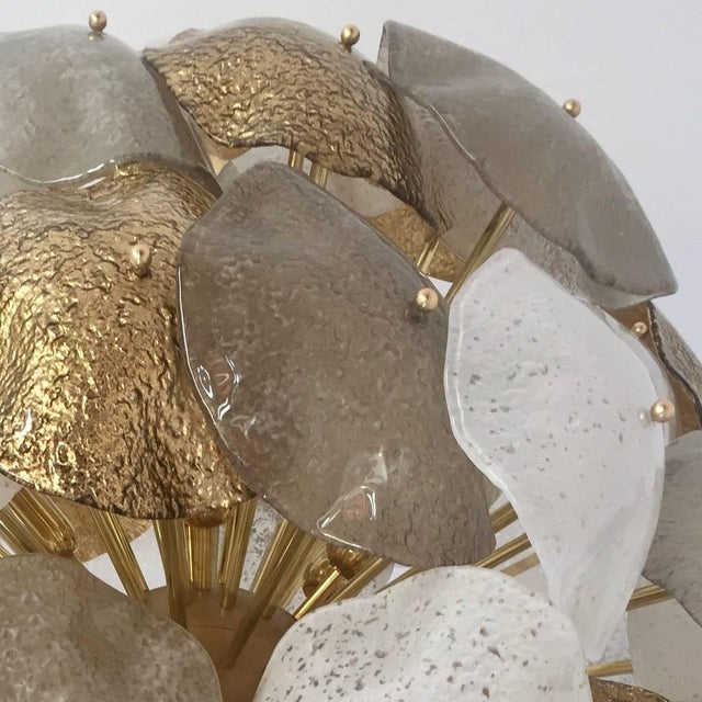 White Modernist Italian Gold Silver White Scavo Murano Glass Round Leaf Chandelier For Sale - Image 8 of 9